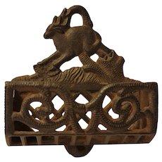 Match safe, billy goat design, cast iron