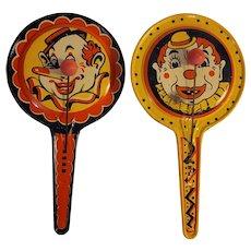 Tin litho clown motif noisemakers