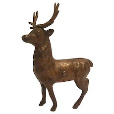 Cast iron reindeer bank small size