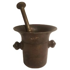 Solid brass heavy antique mortar and pestle