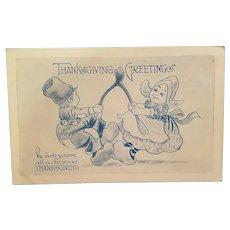 Thanksgiving postcard artist signed, Witt