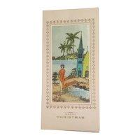 Silk screen christmas card, Kim Long, Saigon Vietnam