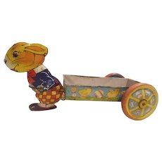 J Chein & Co. Tin litho bunny cart