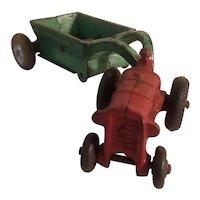 Arcade tractor and dump wagon