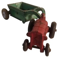 Arcade tractor and dump wagon
