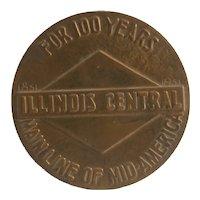 Illinois Central railroad 100 years token