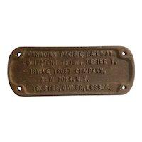 Canadian Pacific Railway equipment Trust plaque
