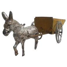Cast iron and tin donkey cart