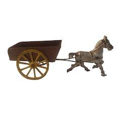 Horse drawn cart, cast iron and tin