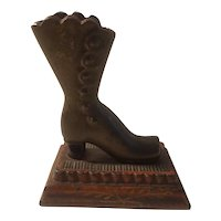 Cast iron match holder, Button up high top boot