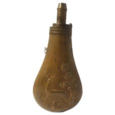 Antique brass powder flask, deer design