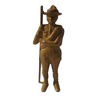 Cast iron boy scout bank, A C Williams