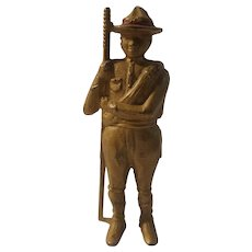 Cast iron boy scout bank, A C Williams