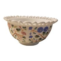 Lace edge, hand painted, milk glass bowl