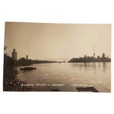 Real photo postcard, Illinois river and bridge Havana Illinois