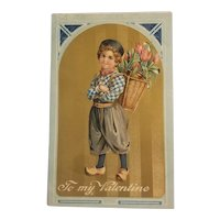 Embossed Dutch child postcard printed in Germany