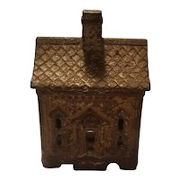 Antique cast iron 1 story house bank