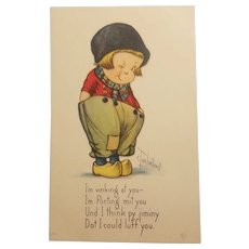 Signed c. Twelvetrees dutch boy postcard