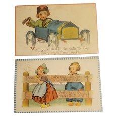 2 Barton and Spooner Dutch children postcards