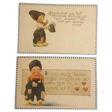 2 Barton and Spooner Dutch boy postcards