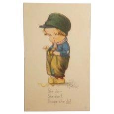 Artist signed Dutch boy postcard