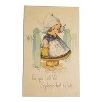Signed c. Twelvetrees dutch girl postcard