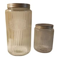Hoosier glass coffee and tea canisters