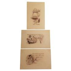 Three sepia colored Dutch children postcards