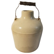 Wide mouth bailed stoneware jar