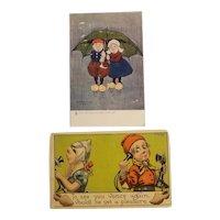 Artist signed Dutch themed postcards