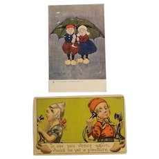 Artist signed Dutch themed postcards