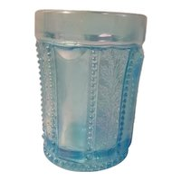 Beaded holly ice blue carnival glass tumbler