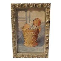 Rose O'Neill kewpies with basket print