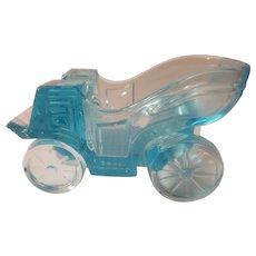 Blue glass carriage shaped ashtray