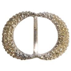 Rhinestone encrusted silvertoned belt buckle or scarf slide