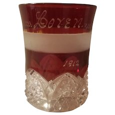 Ruby stain pattern glass tumbler dated 1912