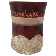 Ruby stain pattern glass tumbler dated 1907
