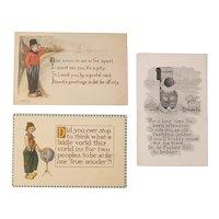 3 Dutch people postcards, 2 artist signed