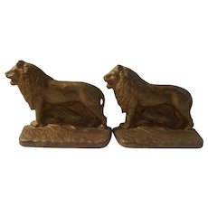 A C Williams marked lion bookends