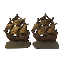 Cast iron Spanish galleon bookends