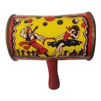 Tin litho noise maker with wooden handle
