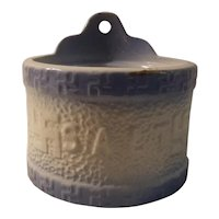 Blue and white stoneware salt crock