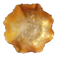 Fenton marigold carnival holly pattern bowl