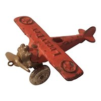 Cast iron lucky boy airplane made by Dent