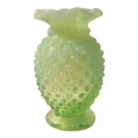 Fenton green opalescent hobnail mini bud vase