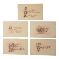 Dutch themed sepia colored postcards