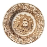 Brown transfer plate with nautical theme