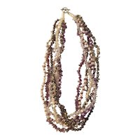 Multi strand simulated pearl and amethyst chip necklace 1