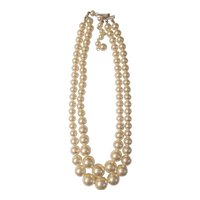 Adjustable graduated simulated pearl necklace