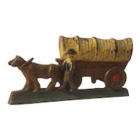 Spencer Foundry wedge doorstop of covered wagon